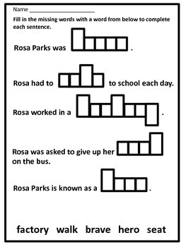 Black History Hero Rosa Parks Biography and Activity Book