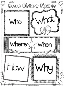 Black History Women Who, What, Where, When, How, Why | Printable Worksheets