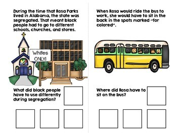 Rosa Parks Adapted Book (WH Questions)