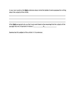 Rosa Parks Biography Article and Assignment Worksheet