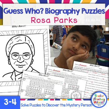 Rosa Parks Biography Puzzles for Kids- Guess Who? A History Mystery