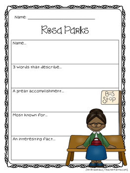 Rosa Parks Biography Report Organizers ~ Black History Month