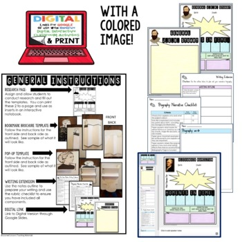 Rosa Parks Biography Research, Bookmark Brochure, Pop-Up, Writing