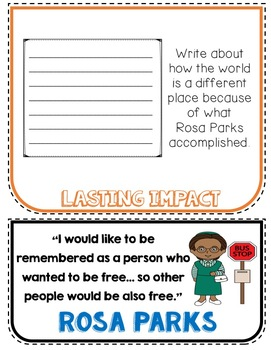 Rosa Parks Biography Research Project, Flip Book, Women's History Month