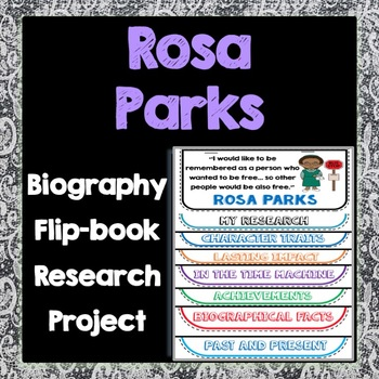 Rosa Parks Biography Research Project, Flip Book, Women's