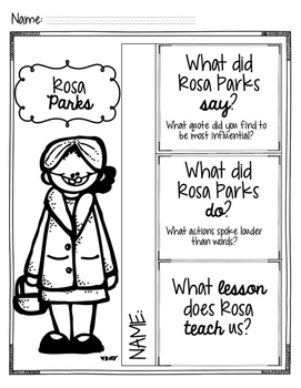 Rosa Parks: Women in History  Comprehension Companion (THEME)