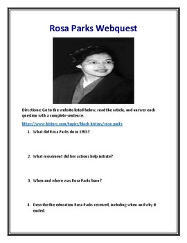 Rosa Parks (Black History Month) Webquest With Answer Key!