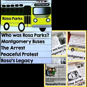 Rosa Parks Bus Craft, Reading and Writing Activities bundle