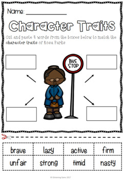 Rosa Parks - Character Trait Activities and Word Wall Cards