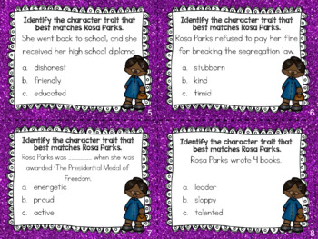 Rosa Parks - Character Trait Task Cards