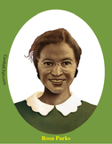 Rosa Parks Realistic Clip Art, Coloring Page and Poster