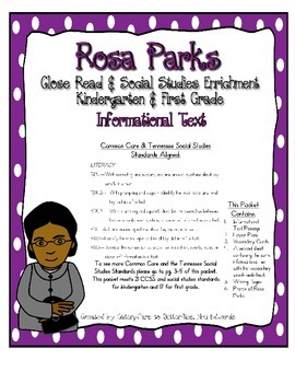 Rosa Parks, Close Read Lessons with Common Core & TN Social Studies Standards
