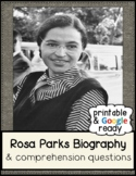 Rosa Parks Close Reading Comprehension Biography with Questions