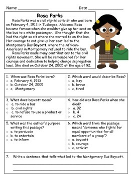 Rosa Parks Close Reading Passage and Reading Comprehension Sheet