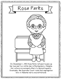 Rosa Parks Coloring Page Craft or Poster with Mini Biograp