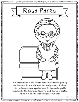 Rosa Parks Coloring Page Activity or Poster with Mini Biog