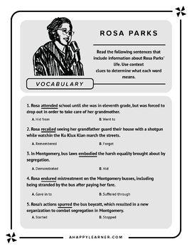Rosa Parks: Comprehension, Vocabulary, Sequencing, and Prediction Activities