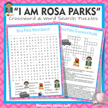 """""""I Am Rosa Parks"""" Activities Meltzer Book Crossword Puzzle and Word Searches"""