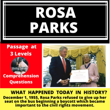 Rosa Parks Differentiated Reading Passage December 1