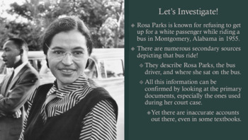 Rosa Parks Historical Investigation: How to Use Primary Documents to Investigate