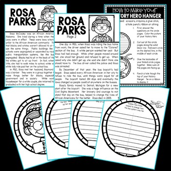 Rosa Parks History Hero Hanger Craft for Black History Month
