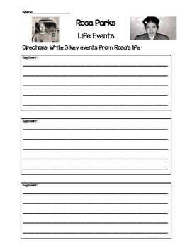 Rosa Parks- Key Life Events Worksheet