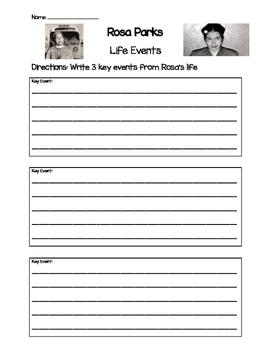 Rosa Parks- Key Life Events Worksheet