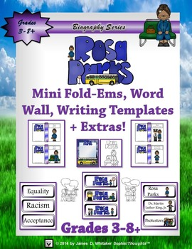 Rosa Parks Mini Research Fold-Ems, Word Wall, and Writing