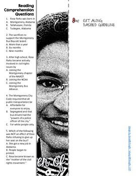 WOMEN'S HISTORY MONTH, ROSA PARKS BIOGRAPHY, WRITING ACTIVITY
