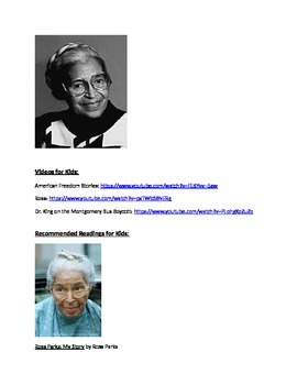 Rosa Parks Pathfinder, Suggested Readings, and Video Links
