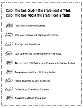 Black History Month: Rosa Parks Reading Comprehension Passage and Questions