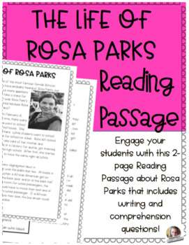 Rosa Parks Reading Passage by Fantastically Fourth Grade | TpT