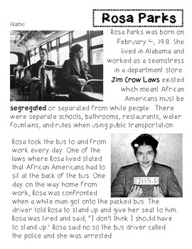 Rosa Parks Reading Passage Worksheets & Teaching Resources | TpT