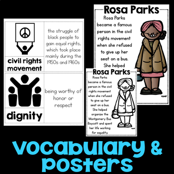 Rosa Parks Reading Passage, Biography Report, & Comprehension Activities