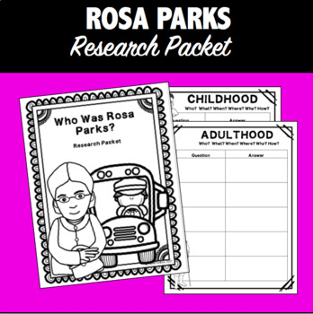 Rosa Parks Color & Research/Inquiry Packet