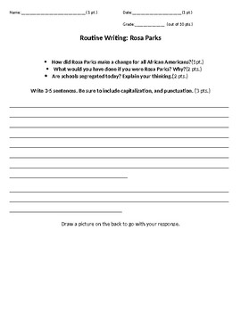 Rosa Parks Routine Writing