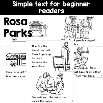 Rosa Parks Black History Simple Reading Activity for Kindergarten