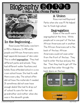 Rosa Parks: Teaching Main Idea and Text Features with an Informational Article