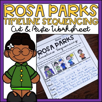 Rosa Parks Timeline Sequencing Worksheets for Black History Month Activity