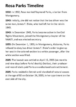 Rosa Parks Timeline And Quotes By Steven S Social Studies