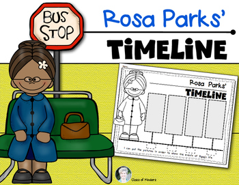 rosa parks timeline for kindergarten and first grade social studies rh teacherspayteachers com  rosa parks clipart black and white