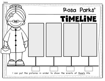 Rosa Parks Timeline for Kindergarten and First Grade Social Studies