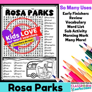 Rosa Parks: Word Search Activity: Perfect for Black History Month