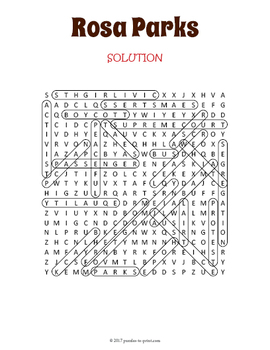 Rosa Parks Word Search Puzzle