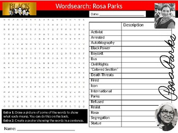 Rosa Parks Wordsearch Black History Month Keywords Settler Homework Cover