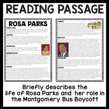 Rosa Parks Reading Comprehension worksheet; Civil Rights Movement