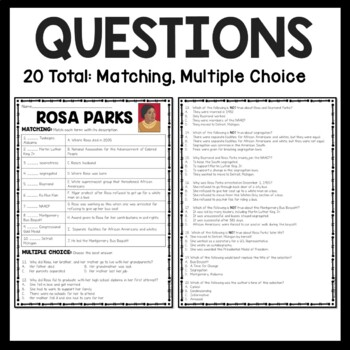 Rosa Parks Reading Comprehension worksheet; Civil Rights Movement; DBQ