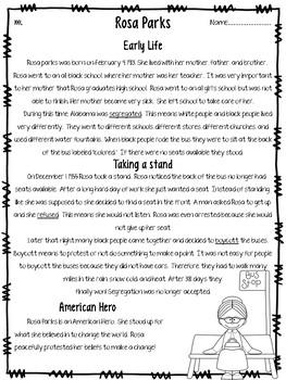 Rosa Parks leveled close read