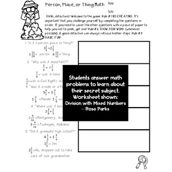 Rosa Parks 5th Grade Math Worksheets Division Mixed Number Fractions