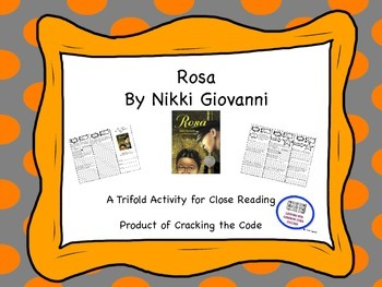 """Rosa"" Trifold Activity McGraw Hill Reading Wonders 5th Grade"
